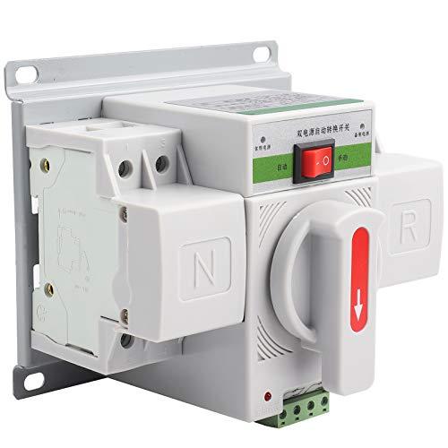LANTRO JS - Interruptor de transferencia automática de 1 pieza 220V 63A 2P Interruptor de transferencia Mini disyuntor de potencia electrónica dual inteligente 148 x 138 x 116 mm