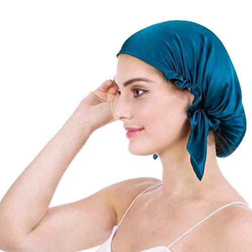 Emmet 100% Seide Schlafmütze Haarschönheit Nachtmütze Damen für Haarverlust Atmungsaktive Kappe,Peacock Blau,Einheitsgröße