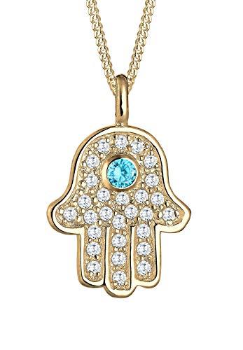Elli Halskette Damen Hamsa Hand mit Zirkonia Kristalle in 925 Sterling Silber vergoldet