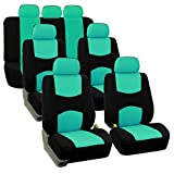 FH Group FB050217 Three Row Flat Cloth Car Seat Covers- Fit Most Car, Truck, SUV, or Van (Mint)
