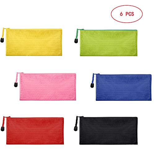 Sailing-go 6 Pieces 6 Colors Zipper Waterproof Bag Pencil Pouch for Cosmetic Makeup Bills Office Supplies Travel Accessories and Daily Household Supplies