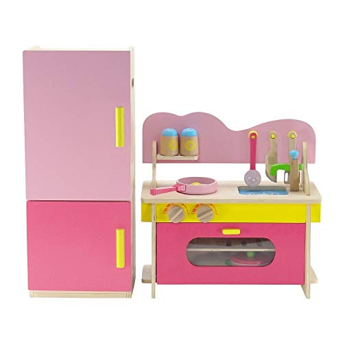 Emily Rose 18 Inch Doll Kitchen Oven/Stove/Sink Combo and Refrigerator - Over 20 Wooden Play Food Accessories | Fits 18' American Girl Dolls | Doll Not Included