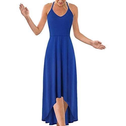Dicomi Damen Sexy Mini Trägerkleid ärmellosen Rückenfrei Party Ballkleid Cocktailkleid Casual Lange Kleider Sommerkleider Blau 3XL