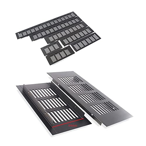 PYSDWE 4pcs 80 mm Ancho de Aluminio Negro Ventilador de Ventilador de Ventilador de Rejilla para Armario de Zapatos con Aire Acondicionado (Color : W80L200 MM)