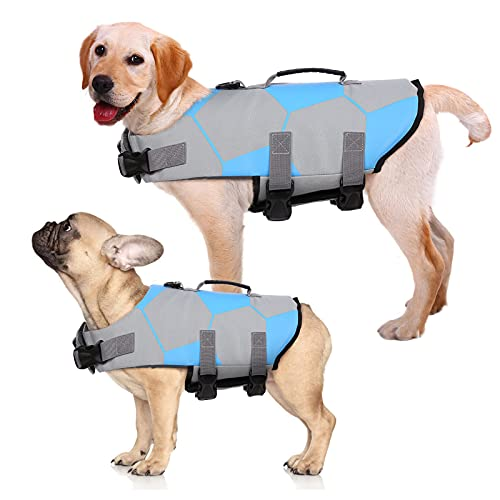 Kuoser Dog Life Jacket Ripstop Dog Life Vest, Adjustable Footbal Pattern Dogs Swimming Vest, Safety Pet Floatation Vest Life Preserver with Durable Rescue Handle for Small Medium and Large Dogs