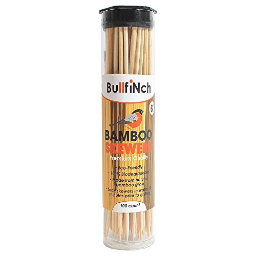 100-Count Bamboo Skewers 6 inch - Ecofriendly Wooden Sticks — Biodegradable Marshmallow Grill Sticks — Vegetable Kabobs - Camping - Bonfires