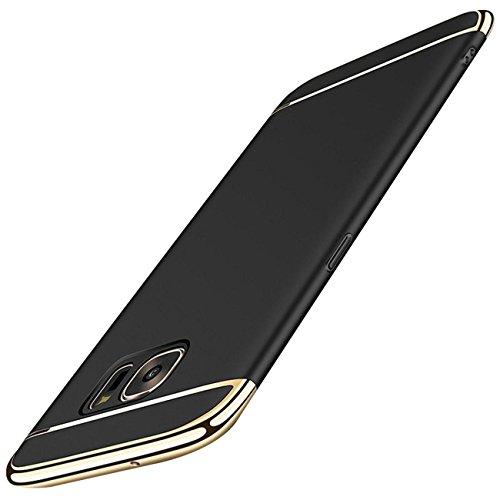 Samsung Galaxy S7 Edge Hülle,Ultra Dünn 360 Grad Schutz 3 in 1 Hart PC Case Cover mit Plating Electroplate Bumper Rückseite hülle für Galaxy S7 Edge (5.5 Zoll) (Schwarz, Samsung Galaxy S7 Edge)