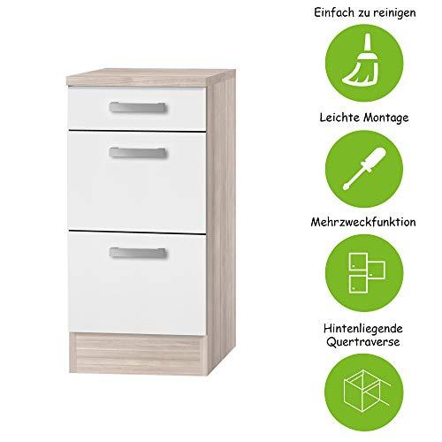 MMR Auszug-Unterschrank Küche DALLAS, Schubladenschrank, 1 Schublade, 2 Auszüge, 40 cm breit, Weiß/Akazie Dekor