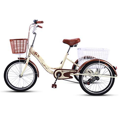 OFFA Triciclo Adulto, Triciclos Adultos 20 Pulgadas 3 Bicicletas De Ruedas, Bicicletas De Tres Ruedas De Crucero con Cesta De Compras para Personas Mayores, Mujeres, Hombres (Color : Beige Brown)