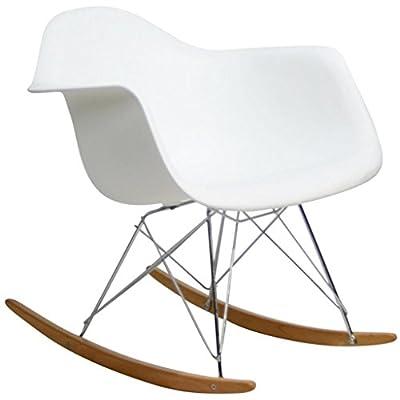 2xhome Single White Mid Century Modern Designer Molded Shell Designer Plastic Rocking Chair Chairs Armchair Arm Chair Patio Lounge Garden Nursery Living Room Rocker Replica Decor Furniture Bedroom