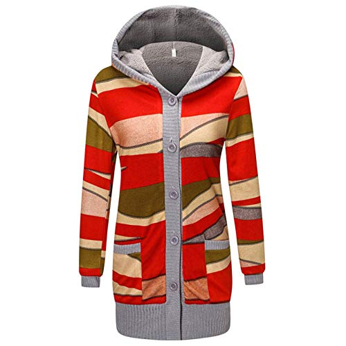 Womens Warm Fleece Pockets Button Casual Long Sleeve Hooded Coat URIBAKE