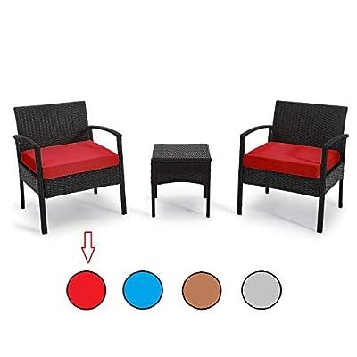 PROHIKER 3 PCS Patio Rattan Conversation Chair Set, 3 PCS Patio Wicker Rattan Furniture Set, Patio Wicker Rattan Table and Chair Set with Coffee Table for Garden, Porch, Garden, Backyard