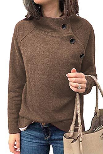 YACUN Donne Pullover Sweatshirts Lunga Manica Obique Pulsante Rivestimento Esterno caffè L