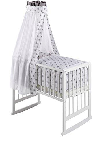 Schardt 09 950 00 02 1/723 Multifunktionswiege Vario weiß lackiert, inklusive textiler Ausstattung Big Stars grey
