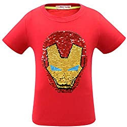 1sygho Superhero Flash Flip Sequin T-Shirt