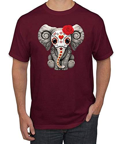 Lustige süße Elefantenschädelmaske Rosen Karneval Mode Grafik T-Shirt XXL