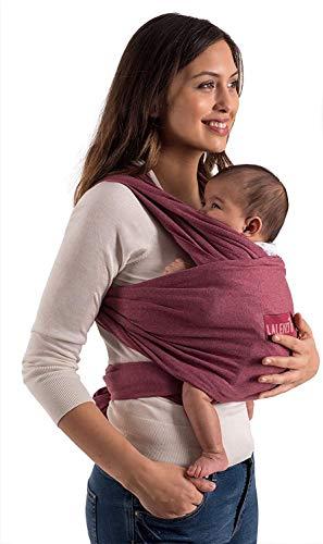 Laleni Fular Portabebes de Algodón Ecológico para Recién Nacidos hasta bebés de 15KG Fabricación Europea, Transpirable, sin Elastano Artificial Color Rojo