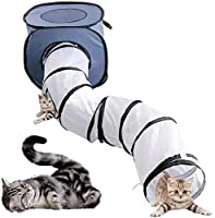 BIGABIGA 猫トンネル 折り畳み式 キャットトンネル 長い S型 トンネル ネコ プレイキューブ 猫テント付き 4穴付き 直径26cm Gray