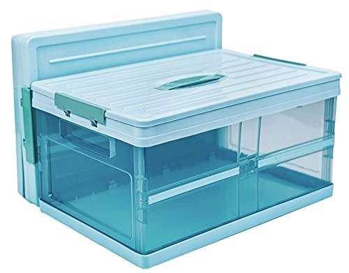 Aufbewahrungsboxen mit deckel, boxen aufbewahrung plastik,stapelbare Faltboxen kinder ,welche für die Aufbewahrung des Haushaltes und dem Kofferraum.(Blau, 30L)