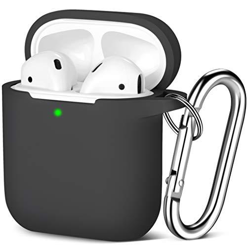 Maledan Kompatibel mit AirPods Hülle AirPods Case Apple Airpods 2 & 1, Voller Schutz Silikon Schutzhülle (Front LED Sichtbar) mit karabiner, Schwarz