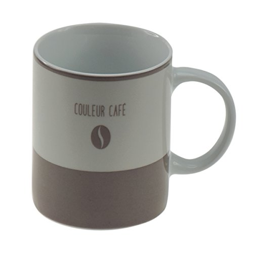 Incidence Paris 54634 MUG - Couleur café, Porcelaine, Gris Taupe, 8 x 8 x 9,5 cm