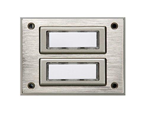 HUBER Aufputz Klingeltaster 2 fach aus Echtmetall - Türklingelknopf mit Namensschild - Haustürklingel Aufputz aus Messing - Klingel Haustür 2 fach