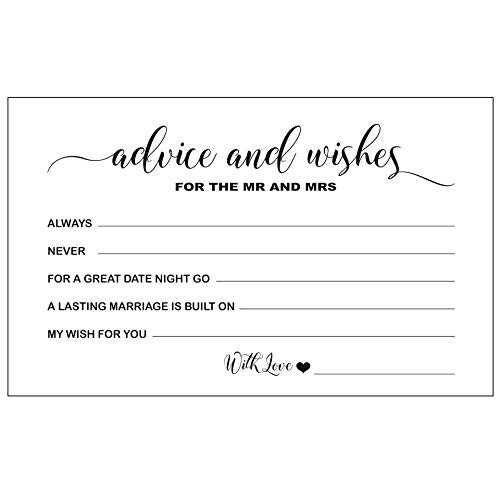 RXBC2011 Wedding Advice and Well Wishes Cards for The Mr and Mrs Bride and Groom Newlyweds Bridal Shower Games Note Marriage Advice Pack of 50