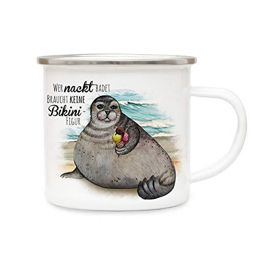 ilka parey wandtattoo-welt Emaille Becher Camping Tasse Seehund Robbe mit EIS Spruch Wer nackt badet braucht Keine Bikinifigur Kaffeetasse Geschenk eb402