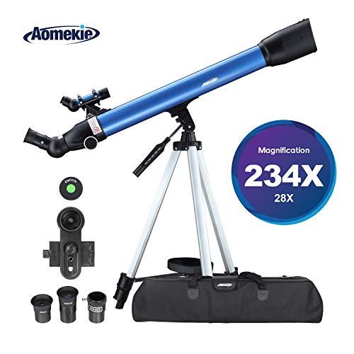 Aomekie Astronomisches Teleskop 60/700 Fernrohr Teleskop Kinder Einsteiger mit 10X Smartphone Adapter Ausziehbares Stativ Tasche Mondfilter und Aufrechtes Sucherfernrohr
