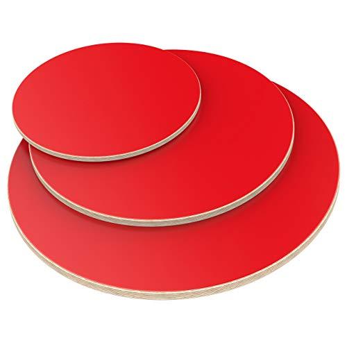 AUPROTEC Tischplatte 18mm rund Ø 600 mm rot Multiplexplatte melaminbeschichtet von 20cm-120cm auswählbar runde Sperrholz-Platten Birke Massiv Multiplex Holz Industriequalität