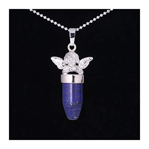 Little Angel Declaración Collar Mujer Joyería Bullet Forma Piedra Natural Suspensión Colgantes Collares Gift (Metal Color : Lapis Lazuli)