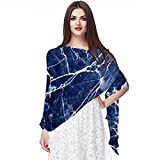WJJSXKA Chiffon Scarves Shawls and Wraps for Evening Dresses, Large Soft Wedding Shawl, Navy Blue Modern Abstract Marble