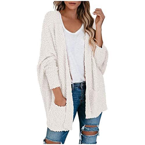 Lazzboy Store Strickjacke Damen Lang Frauen Popcorn Langarm Open Front Pockets Übergroße Einfarbig Mehrere Farben Verfügbar Cardigan Sweater Mäntel (Weiß,M)