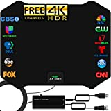 TV Antenna, 2021 Updated Amplified HD Digital Indoor TV Antenna Long 230+ Miles Range Signal Booster Support 4K 1080p Fire tv Stick and All Old TV - 17ft Coax Cable HDTV Amplifier Antenna for Channels