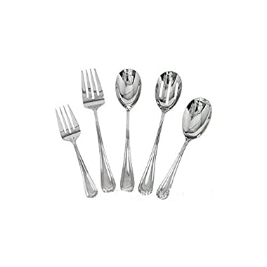 Complete Elegant Regency Line 5-Piece Flatware Serving Set, Utensil Serving Set, Buffet Banquet Serving Spoons (RE-115), Serving Forks (RE-119), 18/8 Gauge Stainless Steel, Stainless Steel Oval Platter (OP-16)