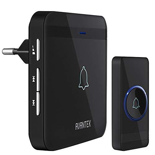 Funkklingel AVANTEK D-3G Türklingel Funk Set Aussen Wasserdicht Haustür Klingel mit 400m Reichweite, 52 Klingeltöne, 5 Lautstärkestufen, ohne Batterien, LED Anzeige, Schwarz
