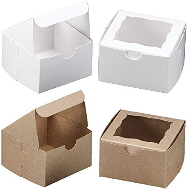 Acceleration By Rachel M 50 PACK Bakery Boxes With Window 4x4x2 5 Inches