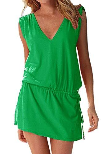 Tunica Playa Mujer Bohemio Vestidos Sin Mangas Casual Tallas Grandes Etnico Hippie Chic Vestido Corto Tirantes Escote V Espalda Descubierta Verano Pareo Caftan Ropa de Baño Bikini Cover Up Mini Dress
