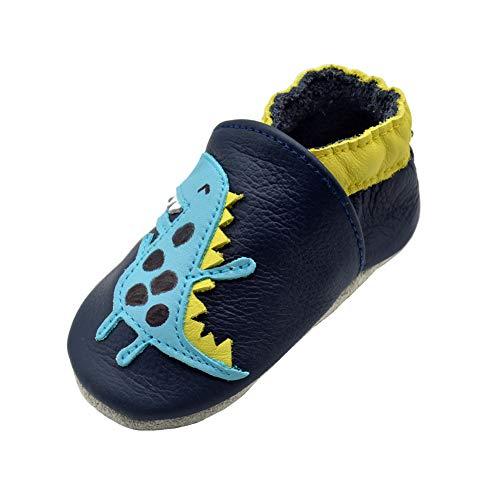iEvolve Baby Mädchen Jungen Elefant Babyschuhe Baby Weiche Sohle Lederschuhe Baby Lauflernschuhe Krabbelschuhe(Marineblaun Dinosaurier,18-24 Monate)
