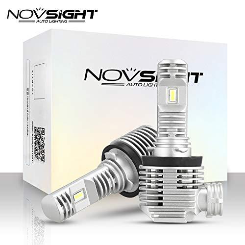 NOVSIGHT H11 H8 H9 Bombilla de faro LED Tamaño mínimo Diseño halógeno original 12,000LM 50W 6000K Blanco 2 años Garantía de fabricación