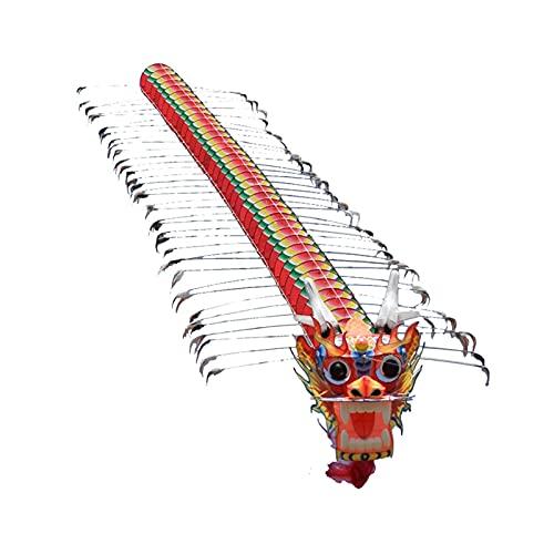 Cometa de Cabeza de dragón Pintada a Mano, Cometa de dragón de Cuerda Larga Tridimensional, Adecuada para Juegos Familiares al Aire Libre en Parques de Viaje en la Playa