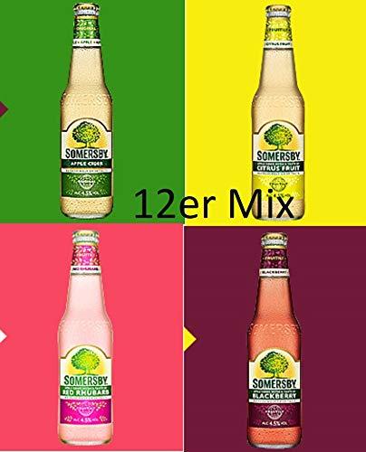 12 Flaschen Somersby Mix 4 Sorten Apple, Citrus, Blackberry, Red Rhuarb Cider a 330ml Glas 4,5% Vol. Apfel