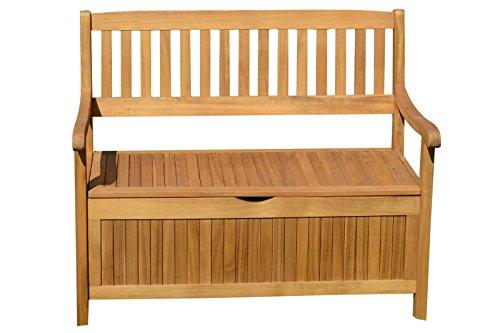 Ploß Aufbewahrungsbank und Hochwertige Kissenbox in Natur, Gartenbank aus Akazien-Holz, Hochwertige und Stilvolle Holz-Bank von Ploss