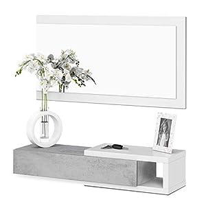 Habitdesign 0L6743A - Recibidor con cajón + Espejo, Modelo Noon, Acabado en Blanco Artik y Cemento, Medidas: 95 cm (Ancho) x 19 cm (Alto) x 26 cm (Fondo)