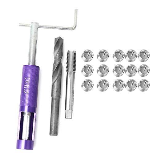 Bruryan Reparación de roscas 18 Piezas M11 / 14 Juego de Herramientas de inserción de reparación de roscas de Alambre de Acero Inoxidable(M14*2)