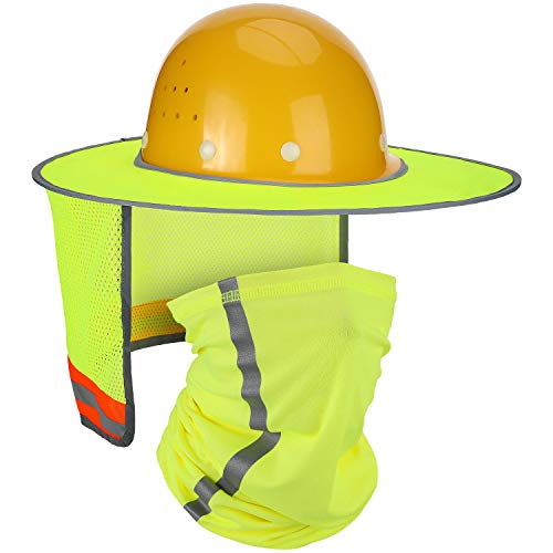 2 Pieces Hard Hat Sun Shade Neck Protection High Visibility Sun Neck Shield Full Brim Mesh Sun Shade Protection and Neck Gaiter Bandana Face Scarf for Hard Hat Accessories, Reflective