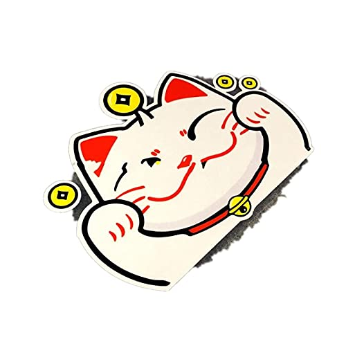JZLMF - Adhesivo decorativo para coche, diseño de gato feliz, resistente al agua, para la luna trasera del coche