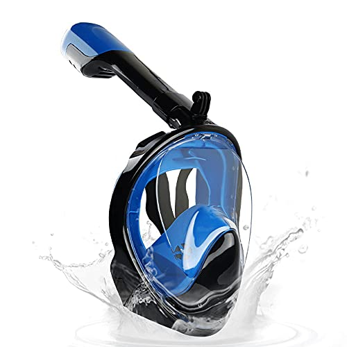 DOPN Máscara de esnórquel plegable de cara completa, máscara de buceo de fácil respiración, juego de esnórquel, 180 °, antivaho, diseño antifugas, para natación