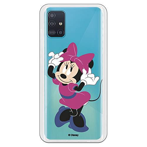 Funda para Samsung Galaxy A51 Oficial de Clásicos Disney Minnie Rosa para Proteger tu móvil. Carcasa para Samsung de Silicona Flexible con Licencia Oficial de Disney.