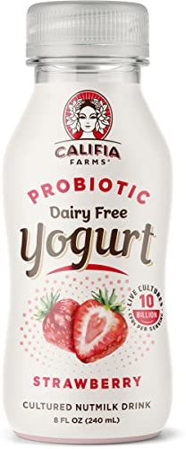 Califia Farms Strawberry Probiotic Drinkable Yogurt 8 Oz Pack of 8 Dairy Free Plant Based Nut product image